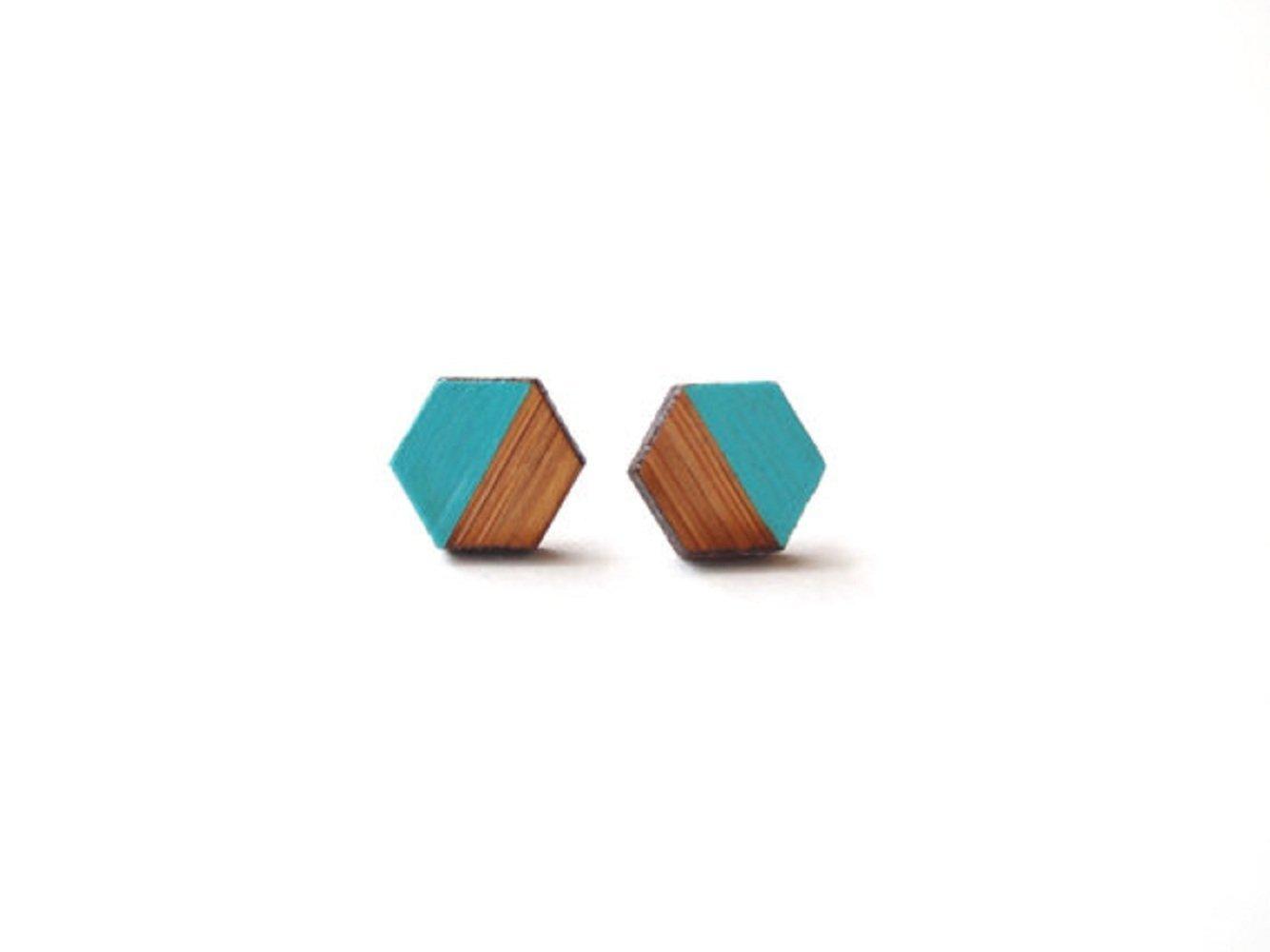 Teal Hexagon Earring - Geometric Wooden Earrings - Teal Earring Studs - Modern Earrings - Minimalist