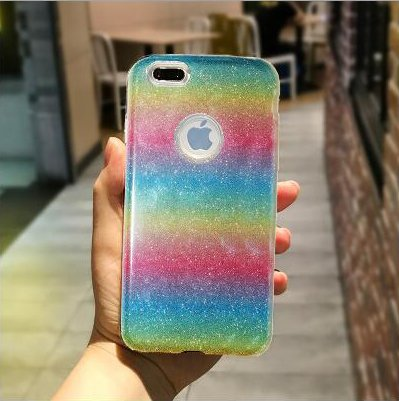 Bliss brands Fashion Gradient Glitter Cell Phone Case (Rainbow, iPhone X)