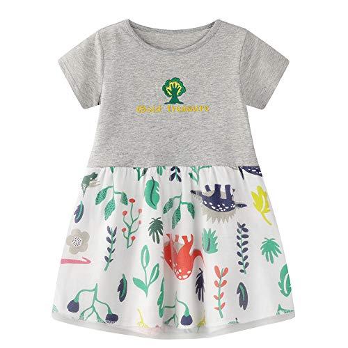 Toddler Girls Tunic Shirts Animal Gauze Dress Basic Dresses 6T