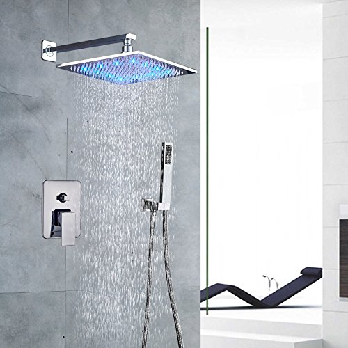 Votamuta Rain Shower Systems Wall Mounted Shower Combo Set with High Pressure 12 Inch LED Square Rain Shower Head and Handheld Shower Faucet Set,Chrome Finish