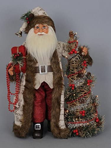 Karen Didion Originals Lighted Woodland Elegance Santa Figurine, 18 Inches – Handmade Christmas Holiday Home Decorations and Collectibles
