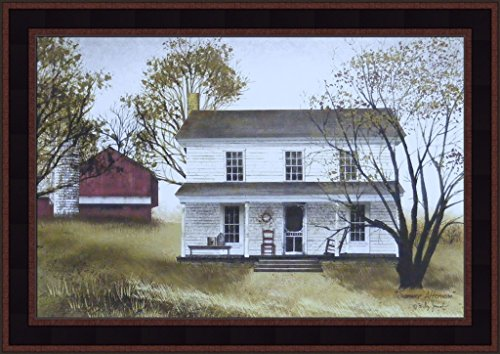 - Home Cabin Décor Summer Afternoon by Billy Jacobs 15x21 Farmhouse Porch Rocking Chair Farm Red Barn Primitive Folk Art Framed Picture