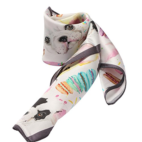 Print Neck Scarf (100% Silk Scarf Neckerchief Small Square Print Scarves Women (Cute Dog))