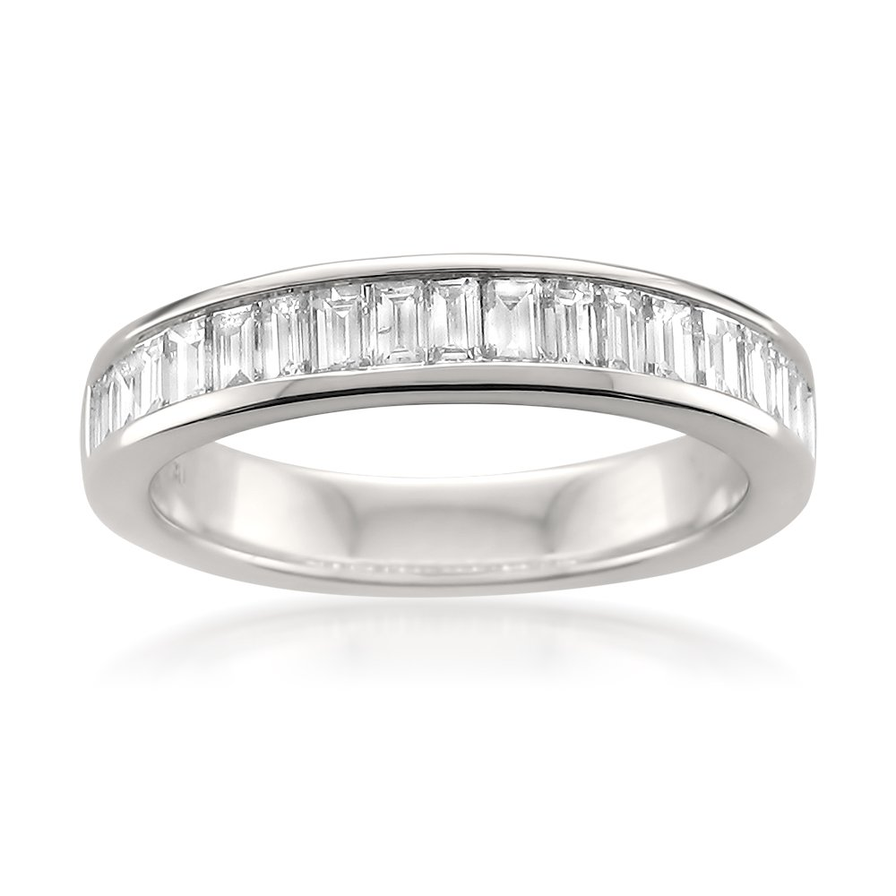 14k White Gold Baguette Diamond Bridal Wedding Band Ring (1 cttw, I-J, VS2-SI1), Size 5.5