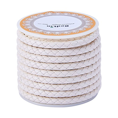 PandaHall 1 Roll 5mm Round Folded Bolo Fold Braided Leather Cords for Necklace Bracelet Jewelry Making 4m per Roll White -