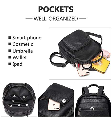 PU Backpack 6605 for Leather Cute Backpack Purse Casual Girls black Rucksack Teen Mini Daypack ChaseChic Women RfURnx