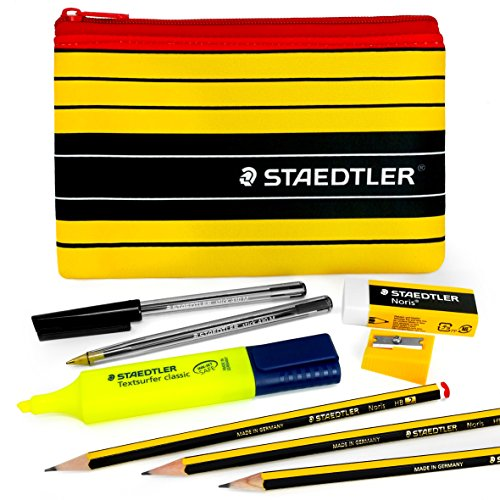 Staedtler - Noris 120 - Essential Pen and Pencil Set - With Highlighter, Eraser, Sharpener, and Pencil Case