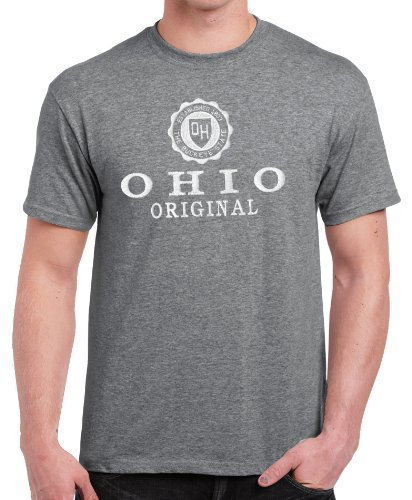 Vintage State Seal Full Chest Embroidered Ohio Tee Shirt Sport Grey XXLarge
