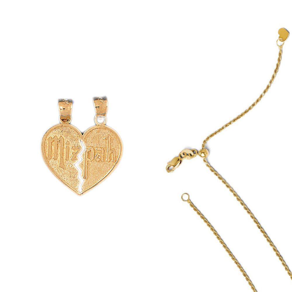 14K Yellow Gold Mizpah Pendant on an Adjustable 14K Yellow Gold Chain Necklace