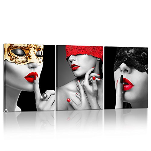 Kreative Arts 3 Piece Beautiful Sexy Woman Poster Art Prints Red Lips Lady Fashion Black Picture Printed on Canvas Stretched and Framed Ready to Hang for Modern Bedroom Decoration 12x16inchx3pcs (Red Lips Art Poster)