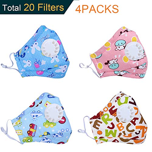 Dodoshop 4Pack Cartoon Allergy Mask for Kids,Cute Washable Cotton N95 Mouth Mask with Valve Replaceable Filter(Each Mask with 2 Filters) (4pack kids mask #7) by Dodoshop