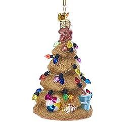 Beach Themed Christmas Ornaments Kurt Adler Noble Gems Sand Christmas Tree Glass Ornament beach themed christmas ornaments
