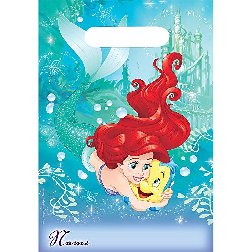 (Disney The Little Mermaid Ariel and Flounder Birthday Girl Party Favors Loot Bags 16 Count)