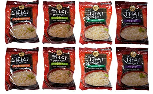 Simply Asia Thai Kitchen Instant Rice Noodle Soup 4 Flavor 8 Bag Variety Bundle, (2) each: Thai Ginger, Spring Onion, Garlic Vegetable, Lemongrass Chili (1.6 Ounces)