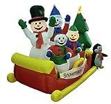8' Airblown Inflatable Snowman Family Sleigh Lighted Christmas Yard Art Decor