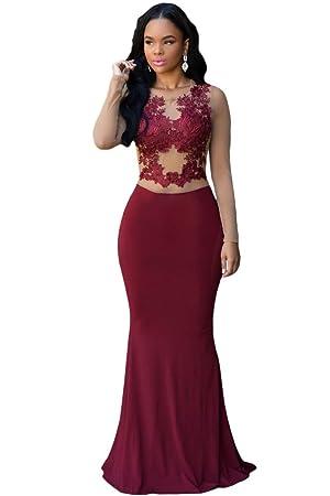 Nuevas señoras rojo vino y Beige de malla vestido de cóctel vestido largo de noche fiesta