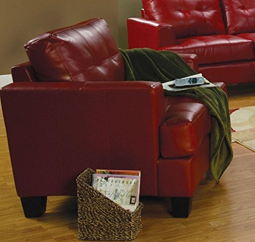 Coaster Samuel Leather Chair, Red (Sofa Samuel Black)