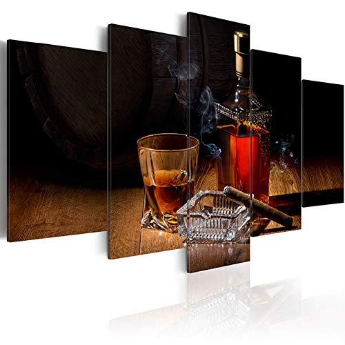 MEIQIAN Obra de Arte 5 Piezas Impresas Bodegon Copa de Vino Pintura al oleo Decoracion Cuadro de Pared en la Sala de Estar Arte Moderno de la Lona Enmarcado y Listo para Colgar