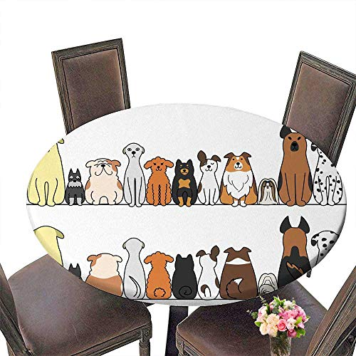 - PINAFORE Modern Simple Round Tablecloth Dogs in a Row with Front and Decoration Washable 50