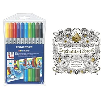 Staedtler Fibre Tip Pens With Enchanted Forest Colouring Book