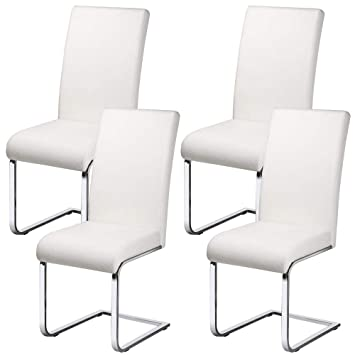 Yaheetech Set Of 4 Faux Leather Dining Chair With Chrome Legs High
