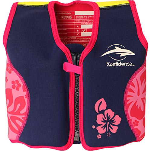 Konfidence The Original Children's Swim Jacket (Pink Hibiscus, 18 Months - 3 Years)