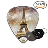 Guitar Picks Plectrums Fireworks in Paris Tower Classic Electric Celluloid Acoustic for Bass Mandolin Ukulele 6 Pack 3 Sizes