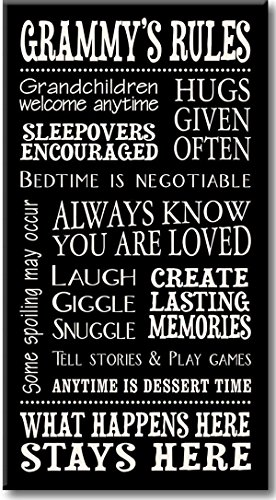 My Word! Grammy's Rules - 8.5 x 16 Decorative Sign, Black with Cream Lettering (Grammy Gift)