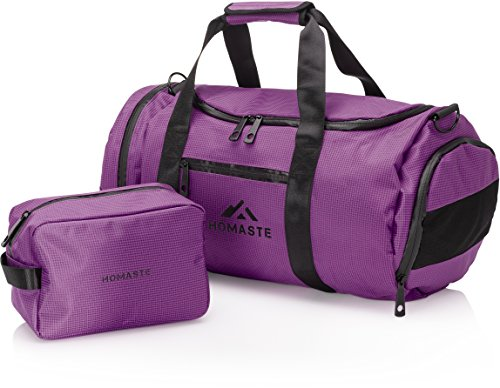 Homaste Gym Bag and Toiletry Kit Bundle - Designer Sports Duffle Bag with Vented Shoe Compartment and Waterproof Nylon Shell - Perfect for Men, Women, and Kids - Deep Purple (Plain Shoes Jordan Black)