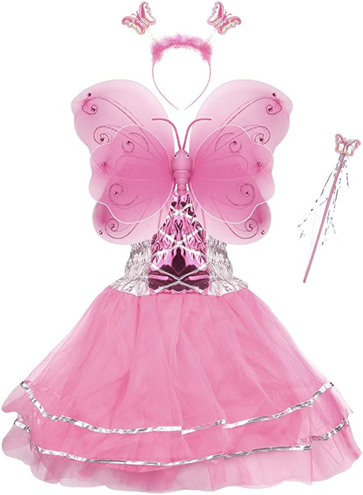 Halloween Girls Dress Up Princess Fairy Costume Set with Dress, Wings, Wand and Headband for Children Ages 3-10