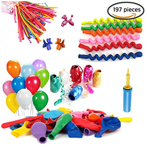 Party Tonight 197 Pc 3 Styles Latex Balloons Party Set comes with 6 color Ribbons, Animal Balloons, & Hand Air Inflator, Great For All Types of - Shopping Tampa