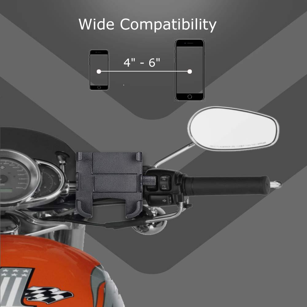9//8 HTC Google XS Galaxy10 Evermotor Soporte para tel/éfono m/óvil con Cargador USB para tel/éfono Inteligente Soporte de aleaci/ón de Aluminio ATV Scooter Ciclomotor para iPhone11
