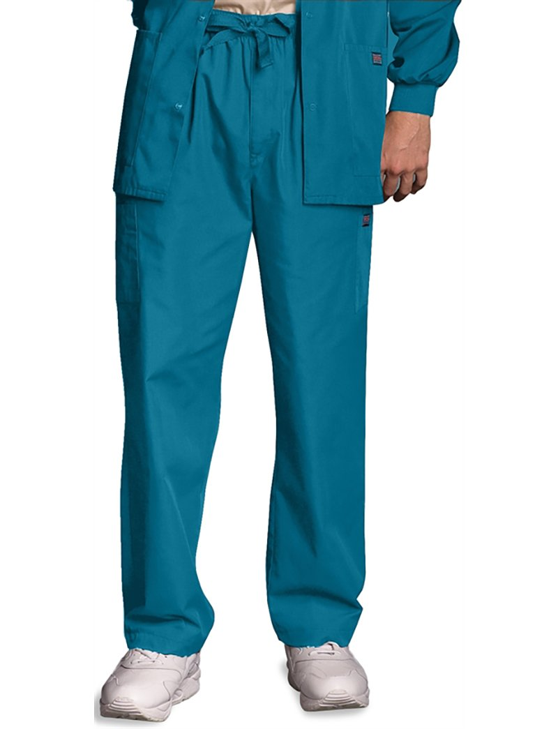 Cherokee Workwear Originals Men's Drawstring Cargo Scrub Pant Small Petite Caribbean Blue