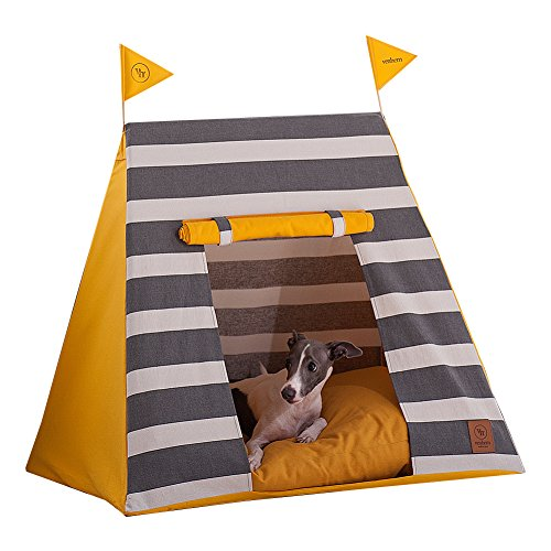 Venhem Premium Pet Tent Pet House Castle Dog House Cat House (Stripe Gray)