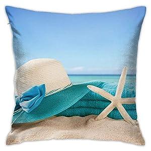 XZfly Fodere per Cuscino Vacanze estive Spiaggia Mare Stella Marina Vacanza Scisto di Sabbia Cappello Asciugamani Gusci per federe Federe per Cuscini Standard 10 spesavip