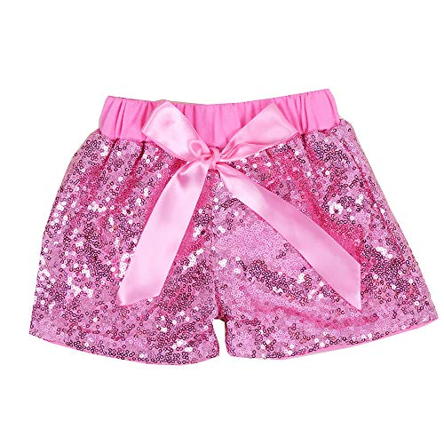 Cilucu Baby Girls Sequin Shorts Toddlers Sparkle Short Pants Kids Birthday Shorts Glitter on Both Sides Pink 4t