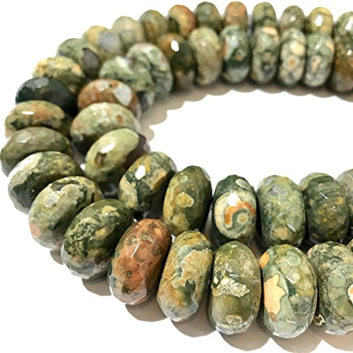 [ABCgems] Australian RainForest Jasper AKA Rhyolite (Beautiful Matrix) 14mm Faceted Rondelle Beads (Australian Gem)