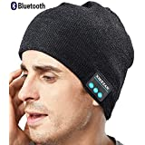 XIKEZAN Upgraded Unisex Knit Bluetooth Beanie Hat Headphones V4.2 Unique Christmas Tech Gifts for Men/Dad/Women/Mom/Teen Boys/Girls Stocking Stuffer w/Built-in Stereo Speakers (Gray)