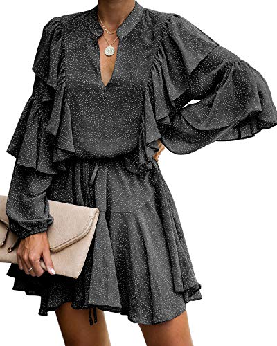 MITILLY Women's Split V Neck Ruffle Long Sleeve Polka Dot Casual Loose Swing Short Dress Medium Black