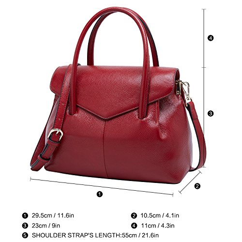 Handle BOYATU Bags for Top Designer Purse Ladies Women Tote Wine Leather Handbags Red Bag qFqrW1zC