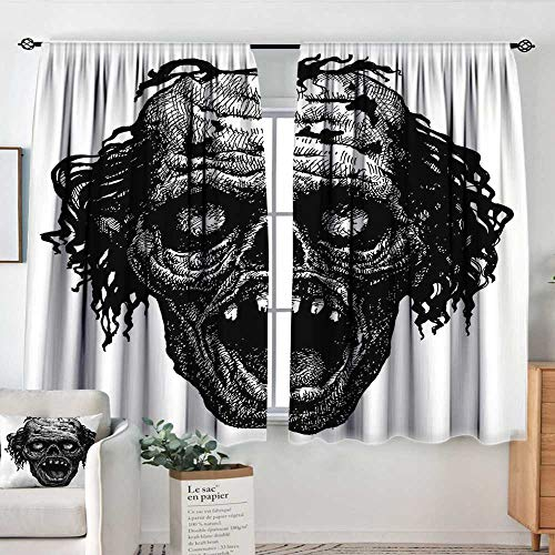 Elliot Dorothy Curtains for Bedroom Halloween,Zombie Head Evil Dead Man Portrait Fiction Creature Scary Monster Graphic,Black Dark Grey,Darkening and Thermal Insulating Draperies 42