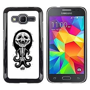 MobileHut / Samsung Galaxy Core Prime SM-G360 / Octopus White Black Funny Skull Skeleton / Delgado Negro Plástico caso cubierta Shell Armor Funda Case Cover