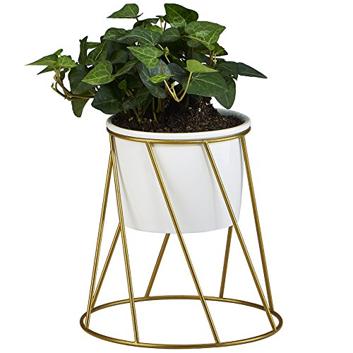 flowerplus Planter Pot Indoor, 4.33 Inch White Ceramic Medium Succulent Cactus Flower Plant Round Bowl with Metal Stand Holder and Plants Sign for Indoors Outdoor Home Garden Kitchen Decor (Golden) ()