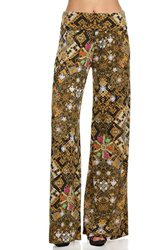 - Yelete Lady's Printed Palazzo Pants (Antique Gold, Large)
