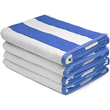 Large Beach Towel, Pool Towel, in Cabana Stripe - (Blue, 4 pack, 30x60 inches) - Cotton - by Utopia Towel