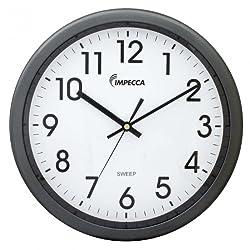 Impecca WCW12M1 Non Ticking Sweep Movement 12 Wall Clock (Metallic Grey)