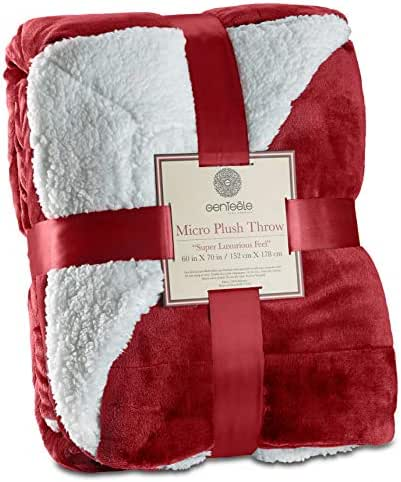 Genteele Sherpa Throw Blanket Super Soft Reversible Ultra Luxurious Plush Blanket (60 inches X 70 inches, Rich Burgundy Red)