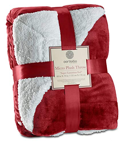 Genteele Sherpa Throw Blanket Super Soft Reversible Ultra Luxurious Plush Blanket (50 inches x 60 inches, Rich Burgundy Red) (Christmas Bed In)