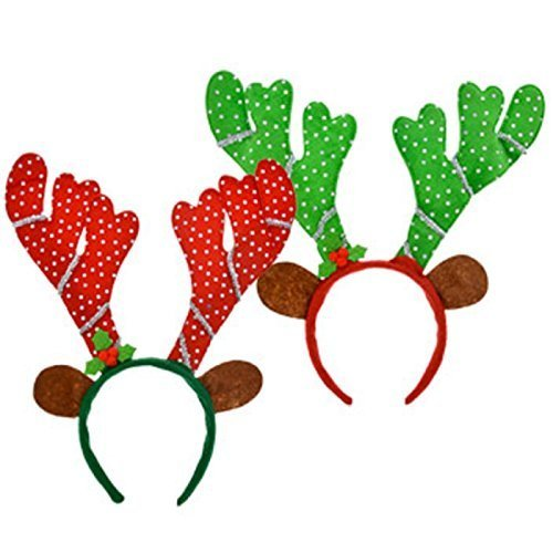 Reindeer Headbands with Antlers and Ears Set of 2 Red and Green with Sequins 13 in.]()
