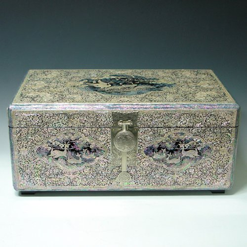 Mother of Pearl Inlay Decorative Long Life Symbols Design Lacquer Wooden Handcrafted Art Jewelry Wedding Trinket Keepsake Treasure Box Ring Case Chest Organizer